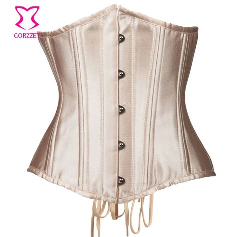 aliexpress buy brown espartilhos e corpetes plus size corzzet vintage beige steel boned underbust corsets and bustiers waist slimming