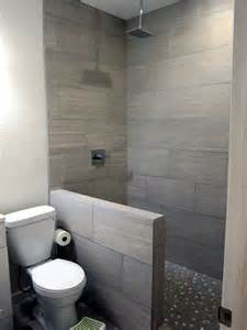 diy basement bathroom finish modern gray tile floor to