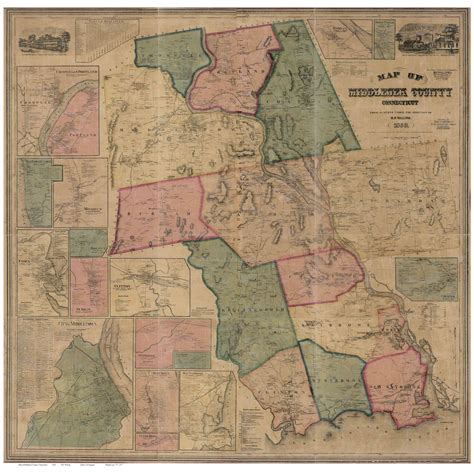 middlesex classic reprint books map of middlesex county ct 1859 wallmap reprint
