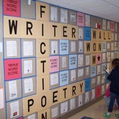 is aw a scrabble word writing on the wall grade level hallway display awesome
