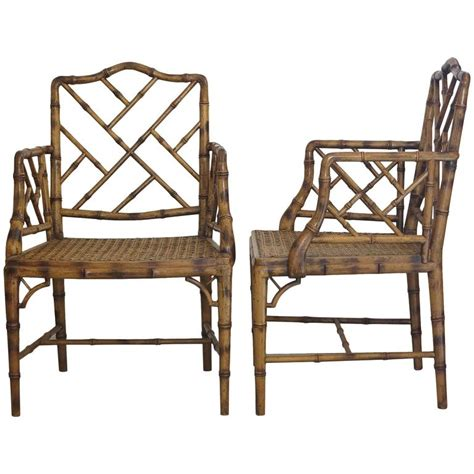 1980s furniture two chinese chippendale faux bamboo arm chairs 1980s at