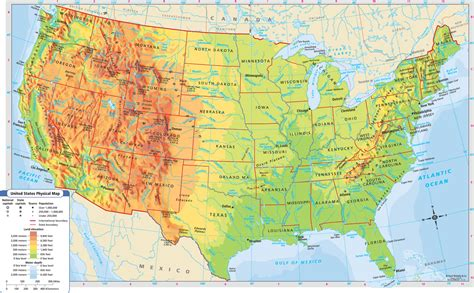 printable labeled map of the united states printable topographic map of the united states beautiful