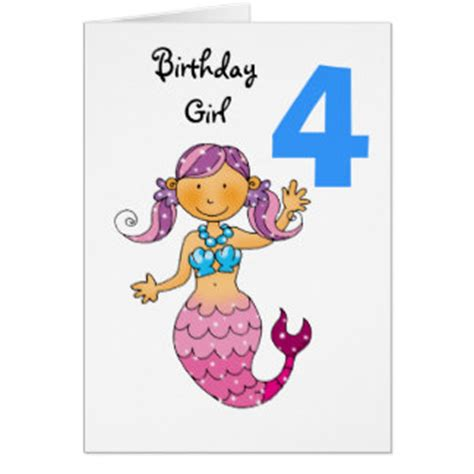4 Year Birthday Card Verses 4 Years Old Girl Birthday Cards Invitations Zazzle Co Uk