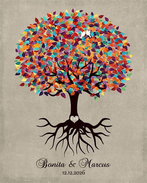 colorful tree minimalist personalized wedding engagement gift keepsake