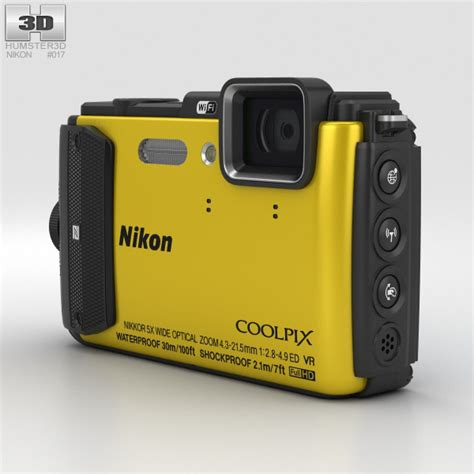 nikon coolpix models nikon coolpix aw130 yellow 3d model hum3d
