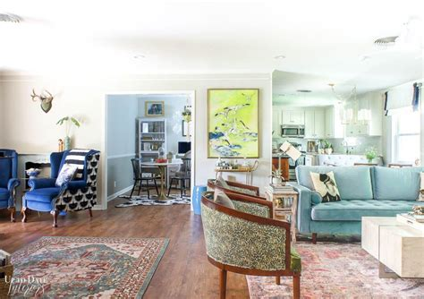 eclectic glam open concept living dining rooms reveal