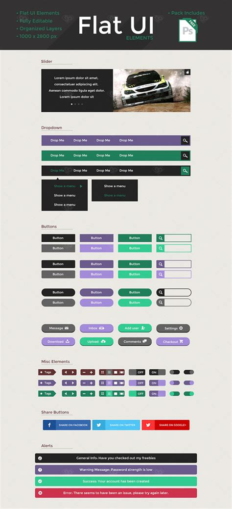 flat ui design templates free flat psd templates and web elements for ui design