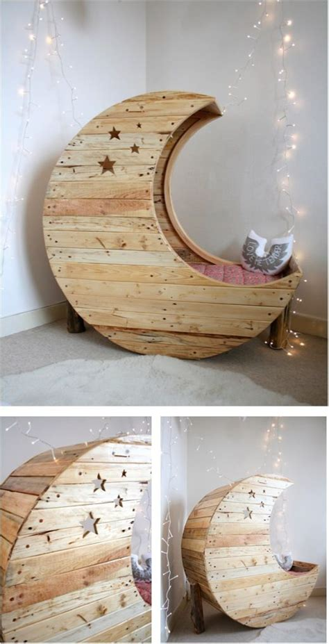 How To Make Baby Crib by Moon Cradle Made Out Of Wooden Pallets Cribs Moon Crib