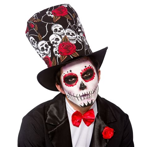 adult day of the dead top hat fancy dress party accessory