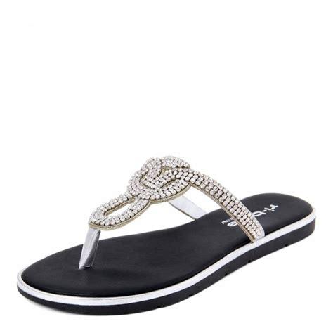 silver rhinestone thong sandals brandalley