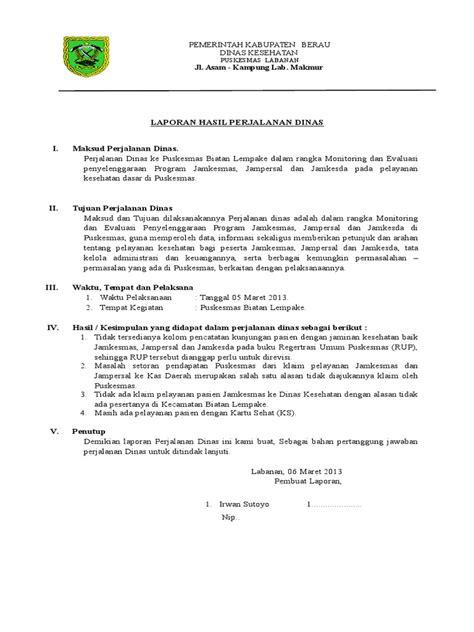 Contoh Format Perjalanan Dinas by Contoh Laporan Hasil Perjalanan Dinas