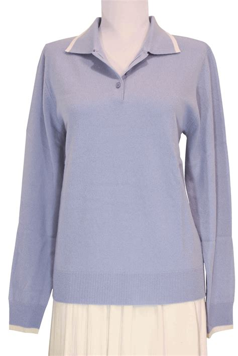 Light Blue Sweater by S Polo Sweater With Decorative Lines Light