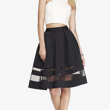 high waist organza inset midi skirt from from express