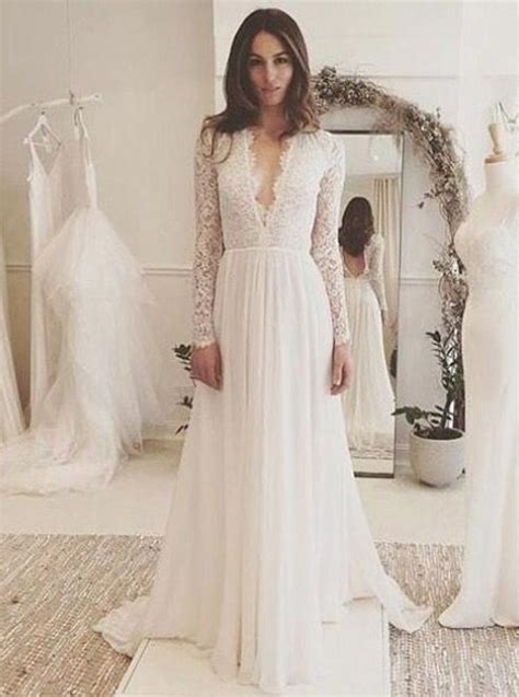 long sleeves wedding dressbeach wedding dresslace
