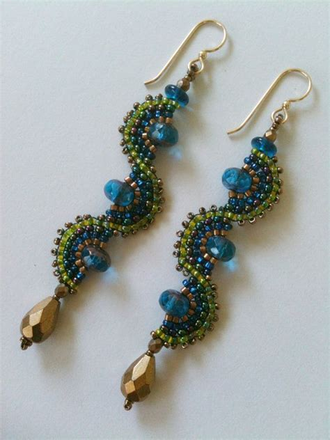seed bead jewelry earrings blue green quot wave quot earrings with