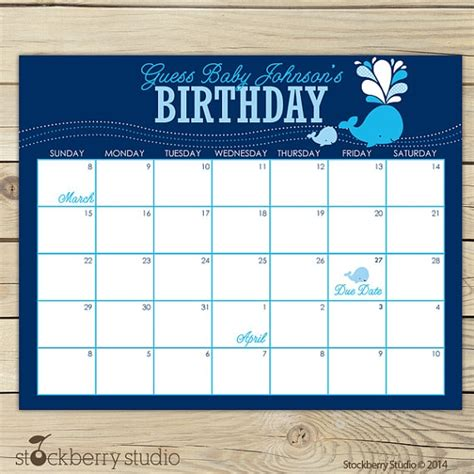 Guess The Due Date Calendar guess the baby due date free calendar template