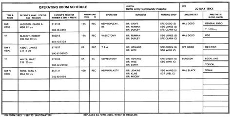 operating room scheduler description exercises lesson 2