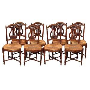 Set of 8 antique french country dining room chairs