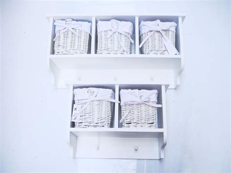 Coat Rack With Storage Baskets by White Shabby Chic Hallway Shelf With 2 Or 3 Basket Hooks