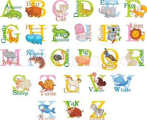 animal alphabet letters q u vector vectores en stock animal alphabet stock vector