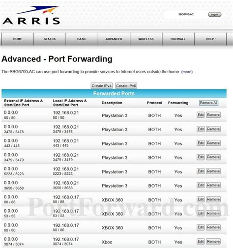 arris sbg6700 ac port forwarding router screenshot