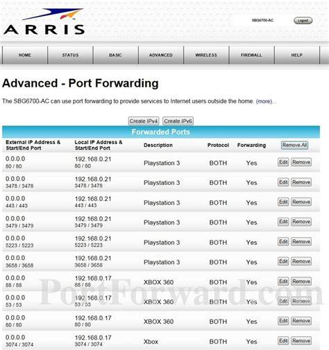 port forwarding arris sbg6700 ac port forwarding router screenshot