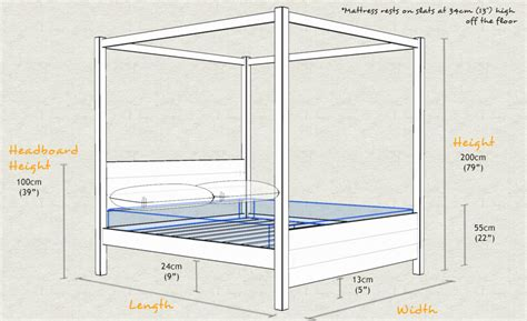 bed measurements four poster bed summer