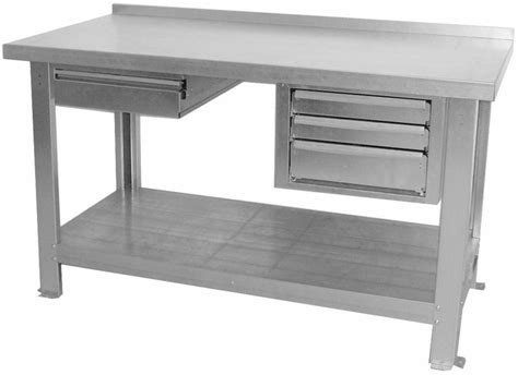 tavolo da officina banco da lavoro piano in lamiera zincato per laboratorio
