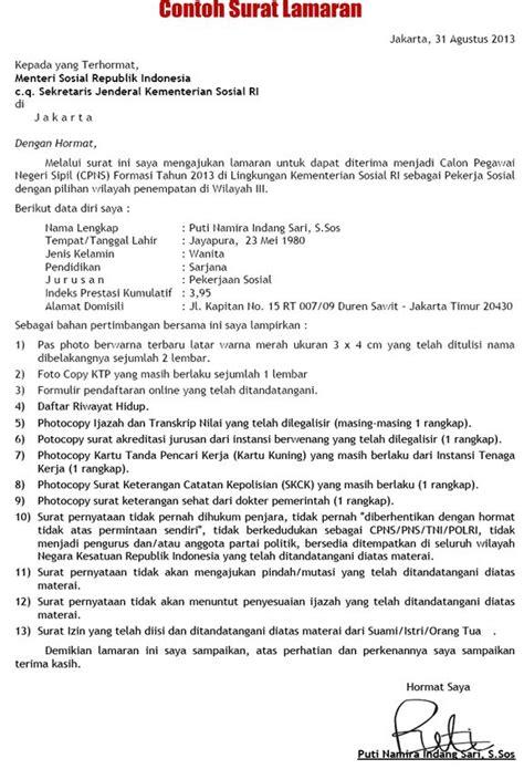 Contoh Lamaran Kerja Cpns by Contoh Daftar Riwayat Hidup Cpns Kabupaten Tanjung Jabung