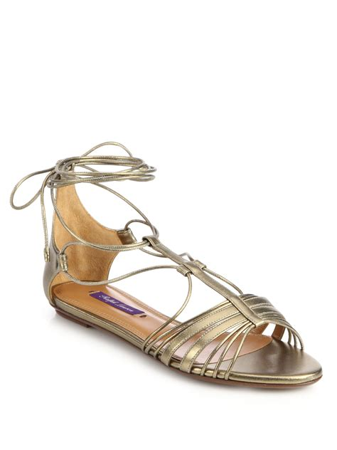 tie sandals lyst ralph mabelle metallic leather flat ankle