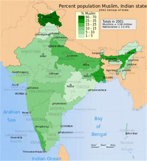 which territory has the least muslim population in the islam in india wikipedia