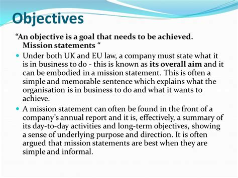 mission statement objectives business aims objectives and organisation ppt