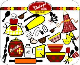 vintage baking digital clip art instant download colors red