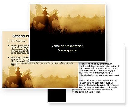 western powerpoint template cowboy rider powerpoint template poweredtemplate