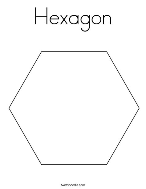 Hexagon Coloring Page Twisty Noodle Hexagon Coloring Page