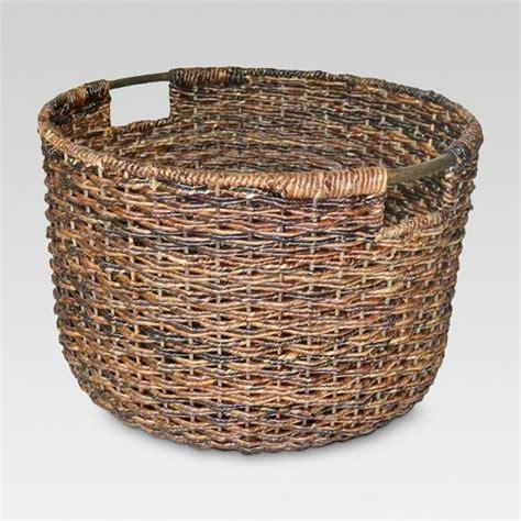 decorative cane baskets wicker large round basket dark brown threshold target