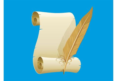 How To Make Paper Scrolls - paper scroll and feather free vector stock