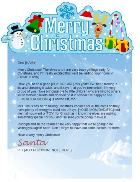 printable letter from santa for christmas morning printable santa letters personalized printable letters
