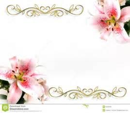 Lily Floral Invitation Romantic Design Stock Photos