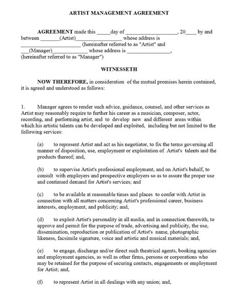 artist management contract template free microsoft word