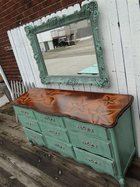 White Dresser With Stained Top by Nine Drawer Provincial Dresser In Soft Jade With A Floral Stained Top The Top Is