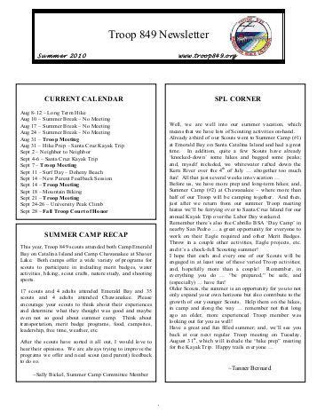 Scoutmaster S Welcome Letter Boy Scout Troop 140 Falls Church Boy Scout Troop Newsletter Template