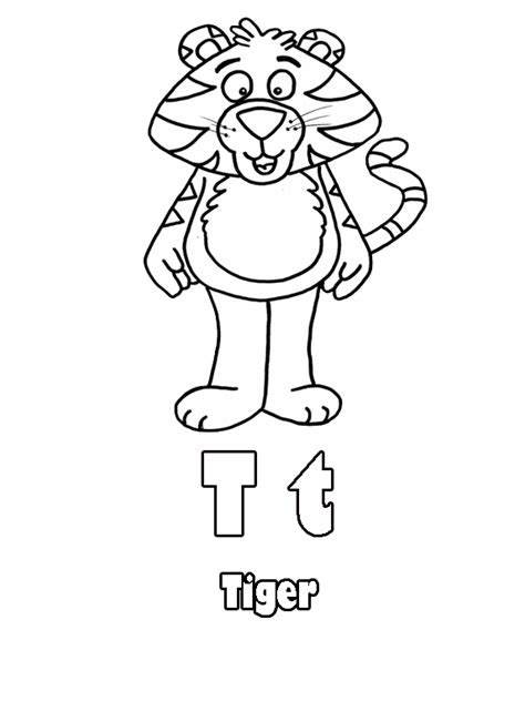 tiger t coloring page pin tiger coloring page for alphabet letter t on pinterest
