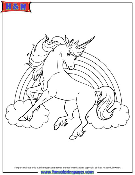 coloring pages of rainbows and unicorns unicorn horse with rainbow for girls coloring page h m