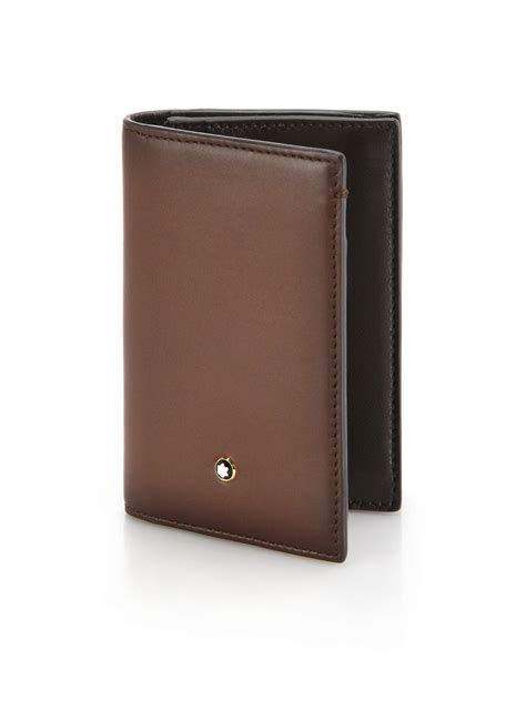 leather business card holders by montblanc italian leather business card holder in brown for lyst