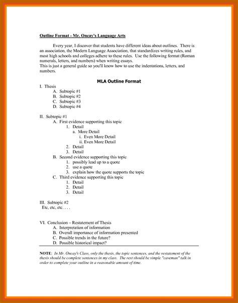 7 8 Outline In Mla Format Resumesheets Mla Format Outline Template