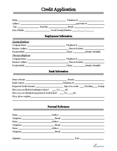 Blank Credit Application Form Pdf Credit Application Business Forms