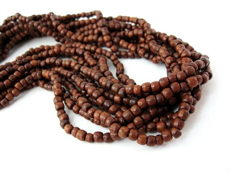 wooden beadings brown wood 3mm 200pcs wooden