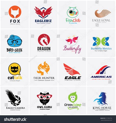 animal logo collection bird logo eagle logo owl logo fox