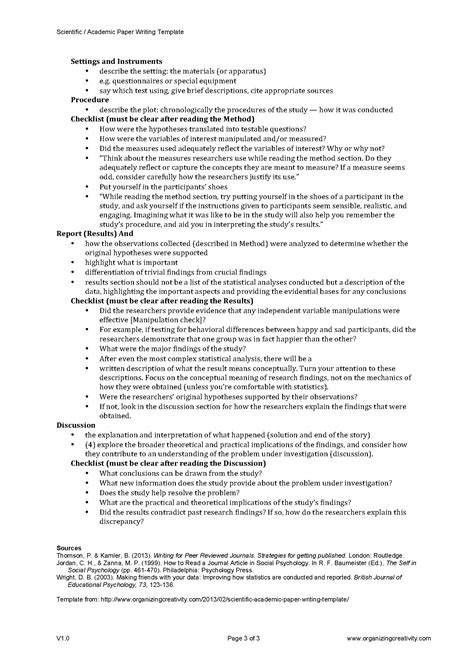 scientific academic paper writing template organizing